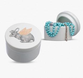 Шкатулка керамическая Королевский Кролик с золотистыми крыльями