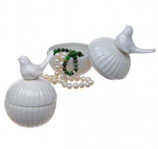 Шкатулка керамическая Птичка-Синичка белая