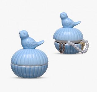 Шкатулка керамическая Птичка-Синичка голубая