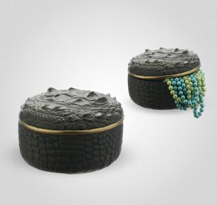 Шкатулка круглая зелёная Crocodile Skin