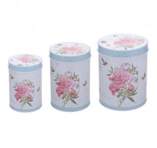 Набор металлических круглых коробок Розовый Пион (3 шт)