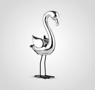 Статуэтка Фламинго интерьерный серебристый 32 см керамика