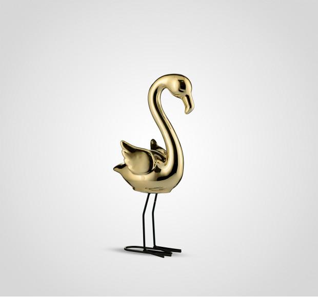 Статуэтка Фламинго интерьерный золотистый 32 см керамика