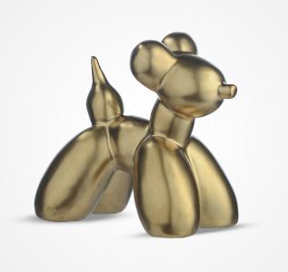 Статуэтка Фигура собаки керамическая золотистая большая