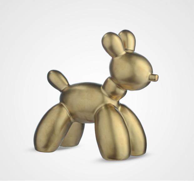 Статуэтка Фигура собаки керамическая золотистая малая