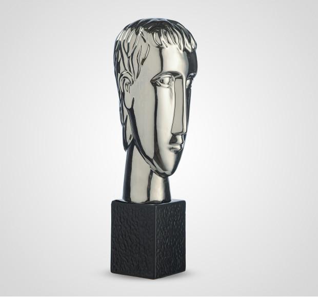 Статуэтка Декоративный керамический серебристый бюст мужчины