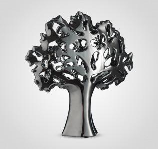 Статуэтка Дерево-Абстракция резное керамическое серебристое 34 см