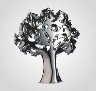 Статуэтка Дерево-Абстракция резное керамическое серебристое 40 см
