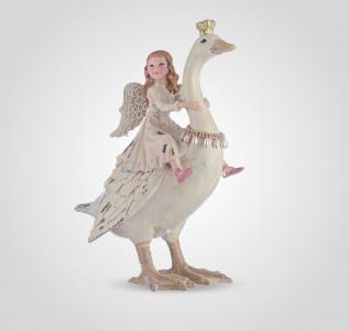 Статуэтка Девочка-ангел на сказочном лебеде