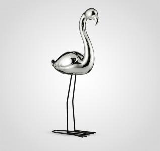 Статуэтка Фламинго интерьерный серебристый 47 см керамика