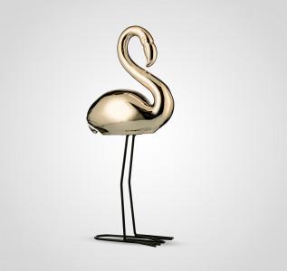 Статуэтка Фламинго интерьерный золотистый 43 см керамика