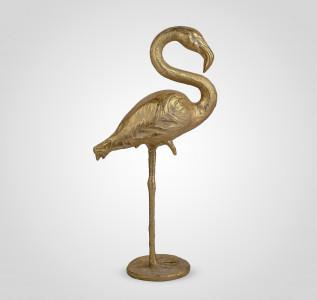 Статуэтка Фламинго интерьерный золотистый 84 см полистоун