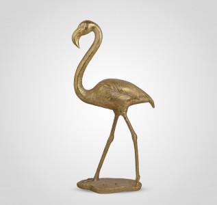 Статуэтка Фламинго интерьерный золотистый 95 см полистоун