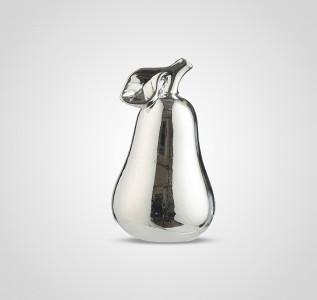 Статуэтка Груша керамическая серебристая 15 см