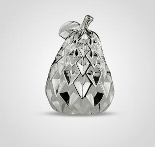 Статуэтка Груша керамическая серебристая ребристая 17 см