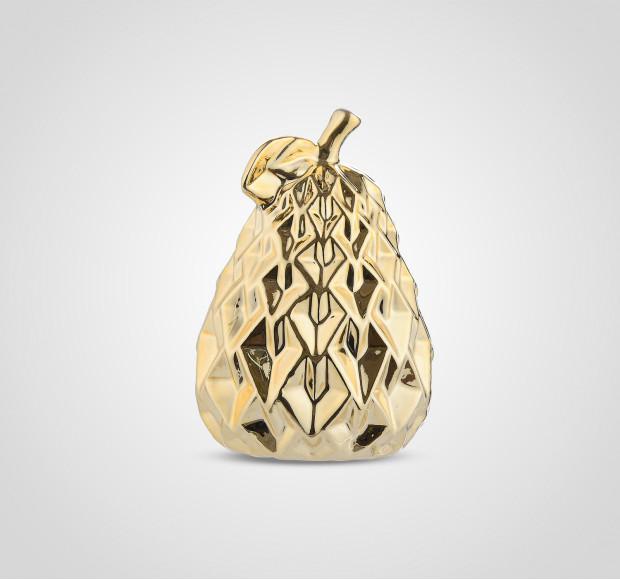 Статуэтка Груша керамическая золотистая ребристая 14 см