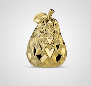 Статуэтка Груша керамическая золотистая ребристая 17 см