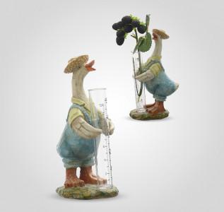 Статуэтка Гусь-фермер с вазочкой-мензуркой