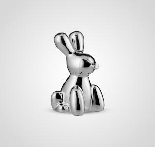 Статуэтка Кролик керамический серебристый малый