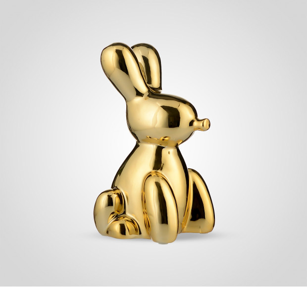 Статуэтка Кролик керамический золотистый большой