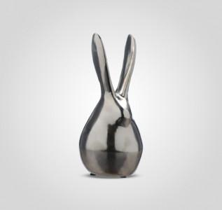 Статуэтка Кролик керамический серебристый Bunny большой