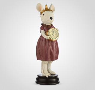 Статуэтка Мышка в платье с часами из полистоуна