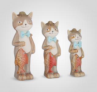 Статуэтка Набор трех декоративных керамических котиков с рыбками