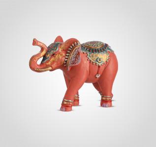Статуэтка Слон красный с индийским орнаментом