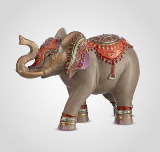 Статуэтка Слон-декор серый с индийским орнаментом