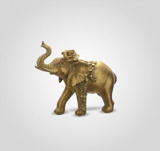 Статуэтка Слон-декор индийский царь с розочкой средний