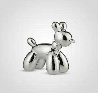 Статуэтка Собака керамическая серебристая малая