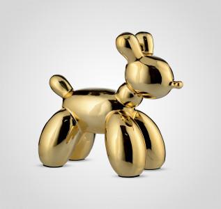 Статуэтка Собака керамическая золотистая большая