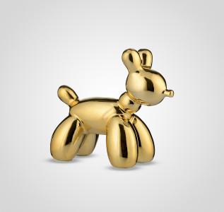 Статуэтка Собака керамическая золотистая малая