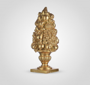 Статуэтка Ваза с фруктами золотистая большая