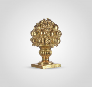 Статуэтка Ваза с фруктами золотистая малая