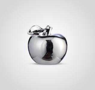 Статуэтка Яблоко керамическое серебристое 10 см