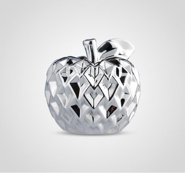 Статуэтка Яблоко керамическое серебристое ребристое 15 см