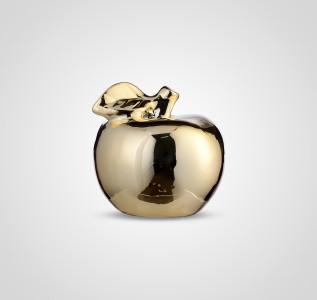 Статуэтка Яблоко керамическое золотистое 10 см