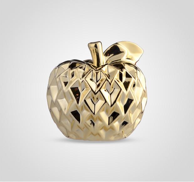Статуэтка Яблоко керамическое золотистое ребристое 15 см