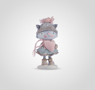Статуэтка Зимняя кошечка с сердечком