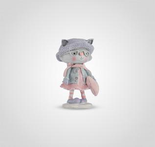 Статуэтка Зимняя кошечка в шарфике с сердечком