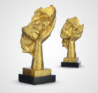 Статуэтка Золотистый бюст из Полистоуна Не слышу
