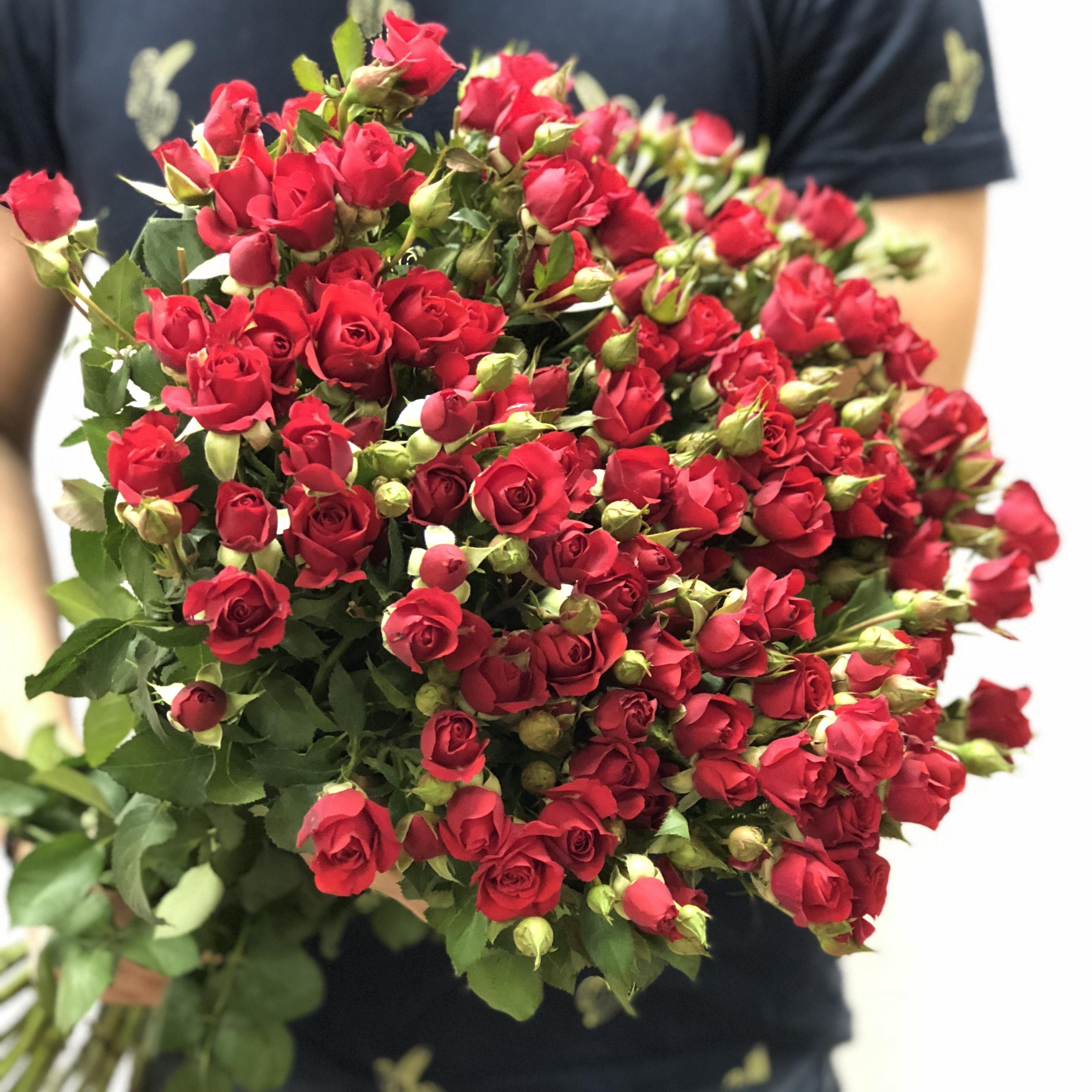 Цветы воронеж, из кустовых роз красных букет